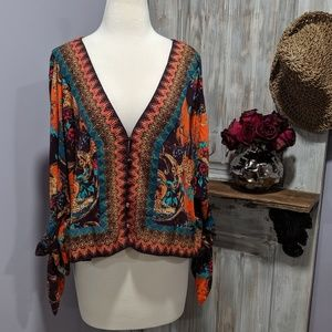 Free People 1/2 sleeve button front print top